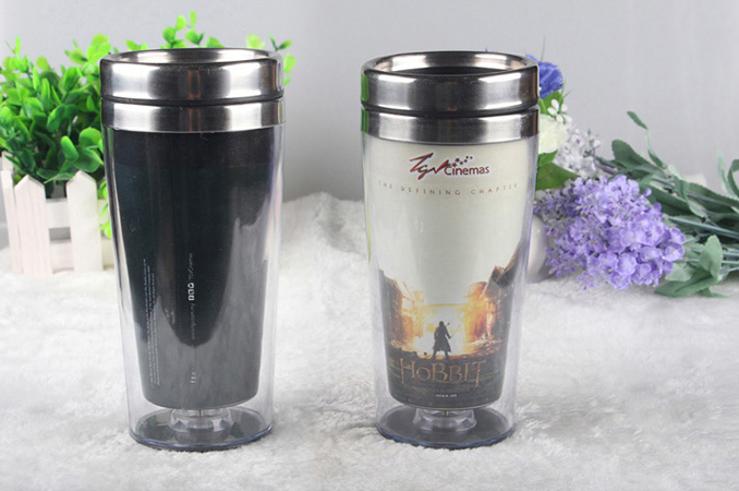 Creative tempreture heat sensitive color changing stainless steel double wall  mug