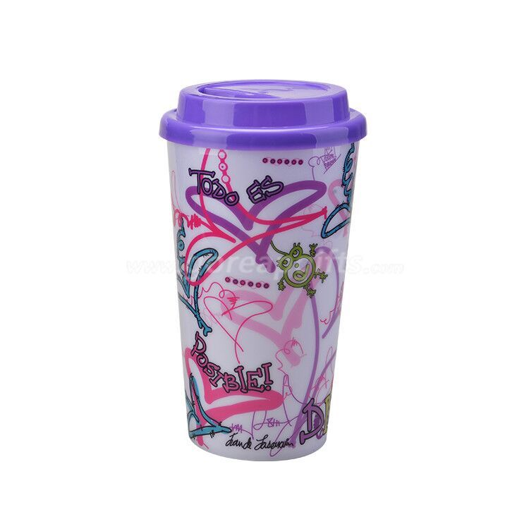 3D lenticular single wall  plastic resuable cup with lid