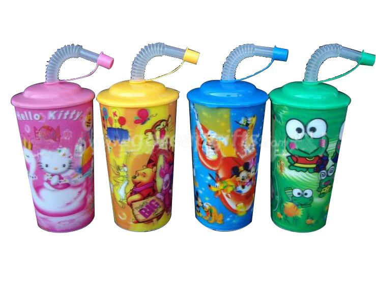 BPA free Promotion PP 3D Lenticular Plastic Straw Cup With Lid manufactuer