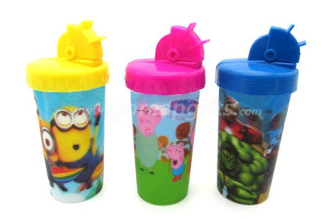 New Hot sale cartoon 3D lenticular plastic drinking straw cup disney