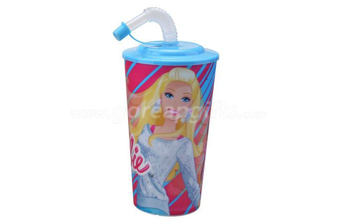 Hot sale cartoon 3D lenticular plastic drinking straw cup with lid and straw