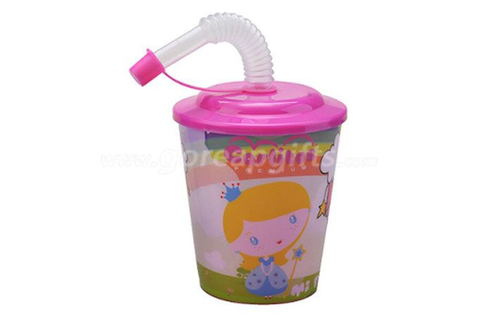 BPA free 500ML Promotion PP 3D Lenticular Plastic Straw Cup With Lid