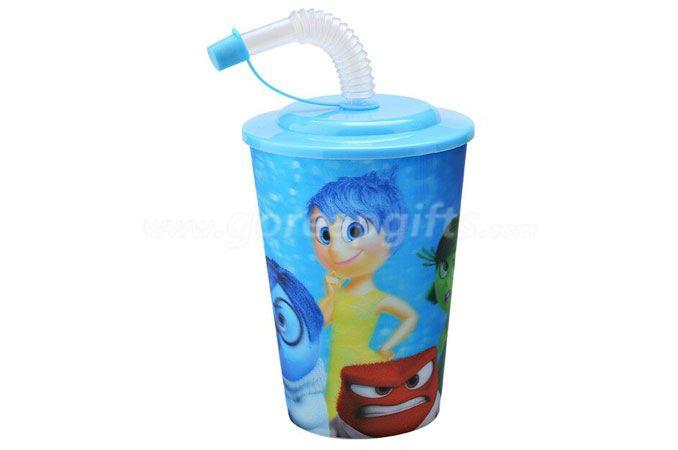 Hot sale cartoon 3D lenticular plastic drinking straw cup