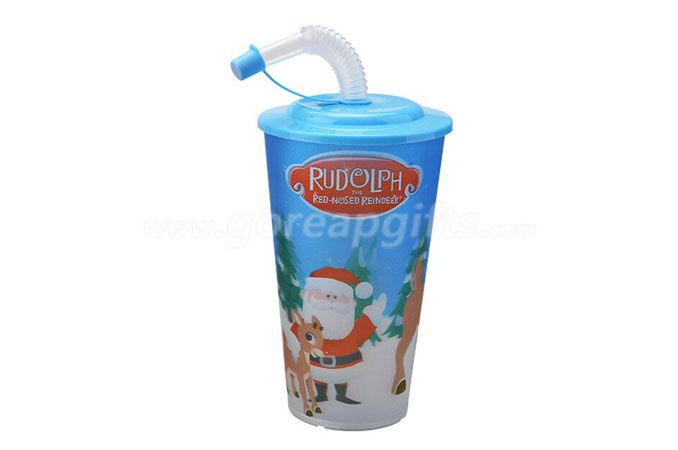 Wholesale BPA Free Plastic 3D Lenticular Cup with lid and straw