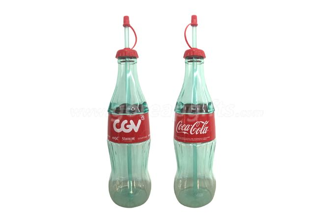 Creative Coca Cola  Tritan plastic water bottle with lid and straw
