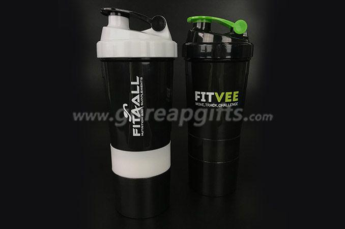 500ml Bpa Free Plastic Dual Three Layer Protein Shake Mixer Shaker Bottle with Ball