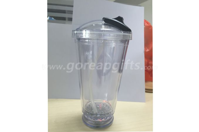 Manufacturer 450ml Double Walled custom flashing plastic led cups with straw