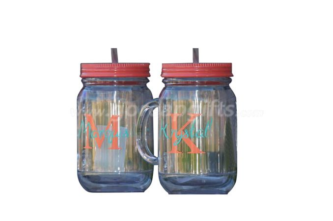 Manufacturer 16OZ  double wall glass  mason Jar with straw and lids