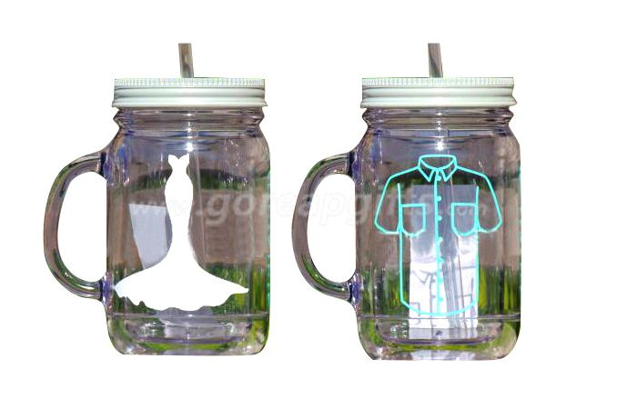 Manufacturer 16OZ  double wall glass  mason Jar with straw and lid