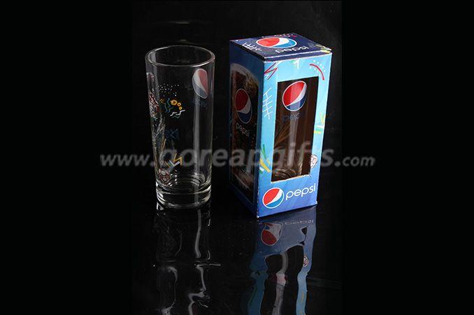 Customzied decal glass beer mug ,glass drinking mug with pepsi design