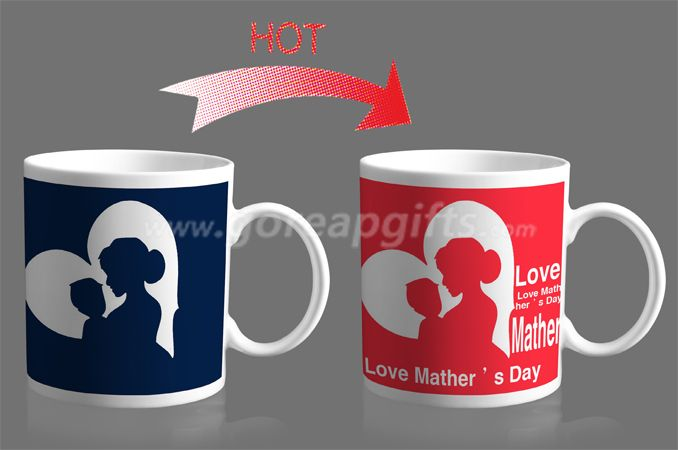10OZ Vshape  heat color changing ceramic mug