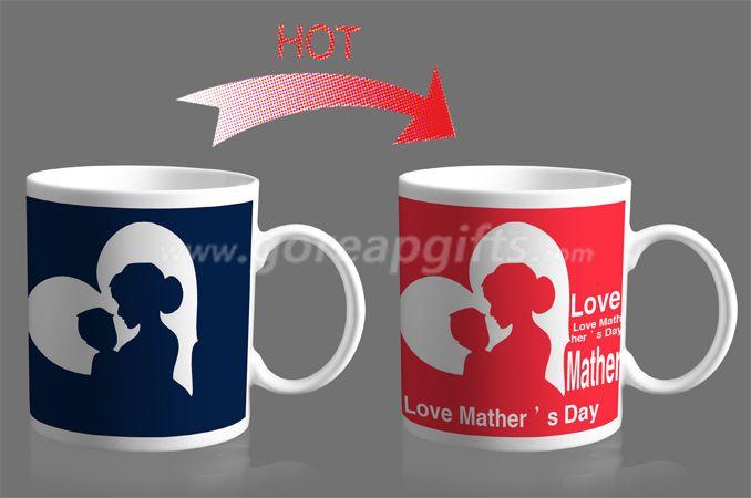 10OZ Vshape  heat color changing ceramic mug