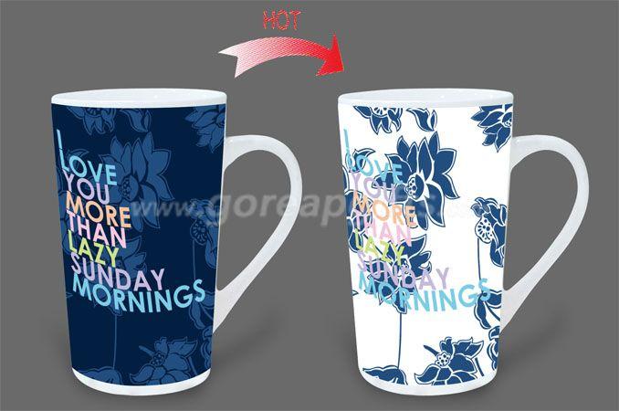 12OZ Sunny  heat sensitive color changing ceramic magic mug,