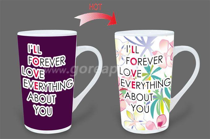 12OZ Love forever  heat sensitive color changing ceramic magic mug