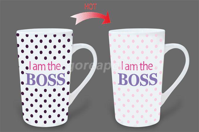 12OZ boss  heat sensitive color changing ceramic magic mug