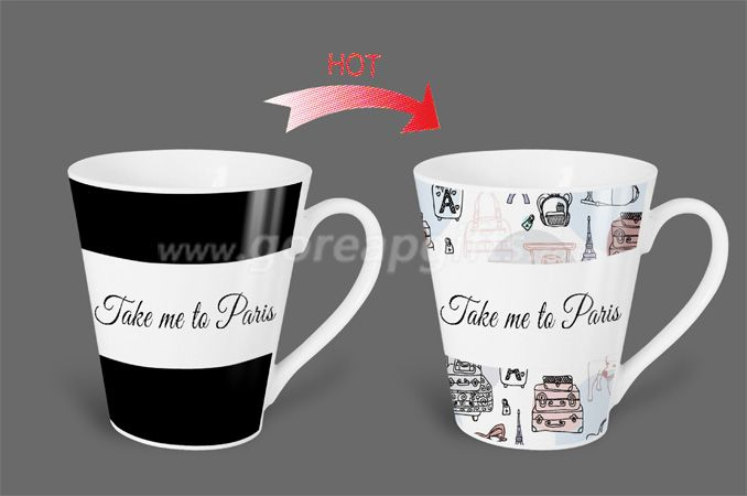 12OZ Take  me to Paris   heat sensitive color changing ceramic magic mug