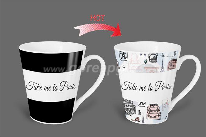 12OZ Take  me to Paris   heat sensitive color changing ceramic magic mug