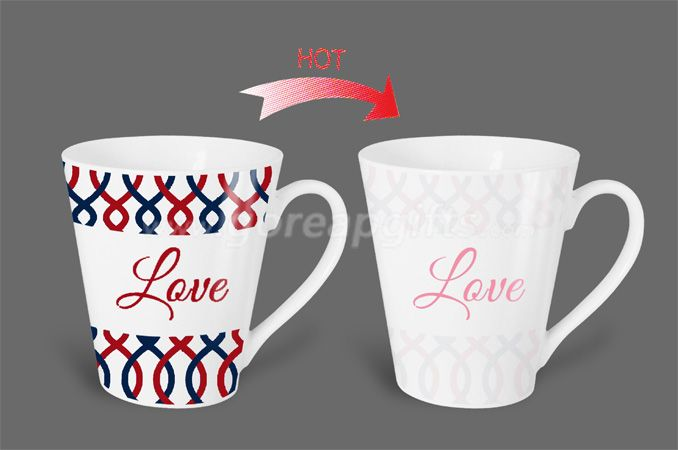 12OZ Love  heat sensitive color changing ceramic magic mug