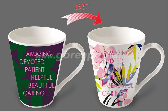 12OZ Amazing   heat sensitive color changing ceramic magic mug