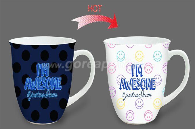14oz AWESAM heat sensitive color changing ceramic magic mug