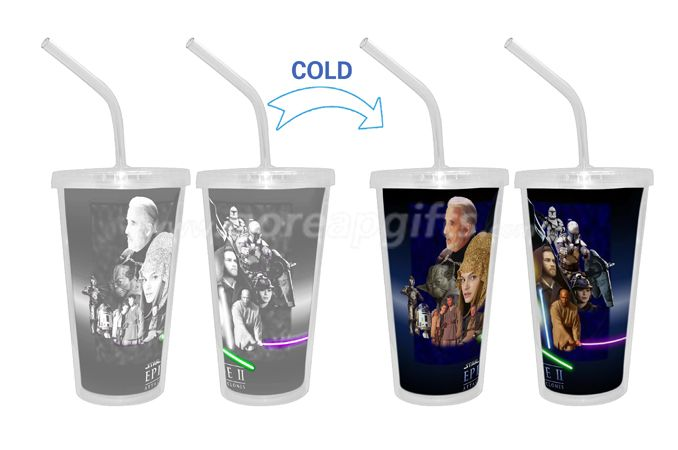 Cinema Cold color changing  double wall plastic tumbler with straw