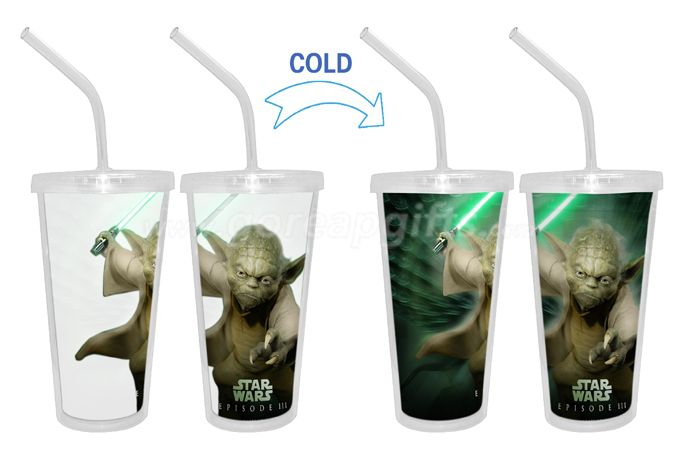Star Wall Cold color changing  double wall plastic tumbler with straw