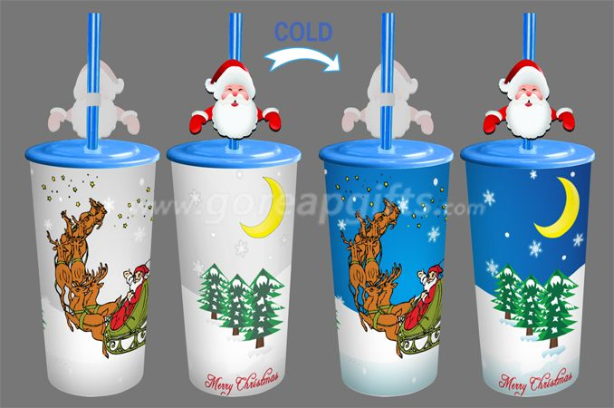 Christams creative  reusable single wall PP cold color changing plastic magic cups