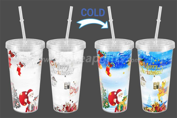 Christmas Double wall personalized cold  color changing plastic tumbler with lid and straw