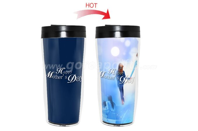Mother's Day Gift BPA Free double wall heat  color changing plastic water bottle
