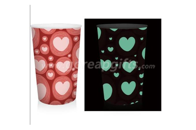 420ml creative PP single wall glowing plastic cup ,lovers cup