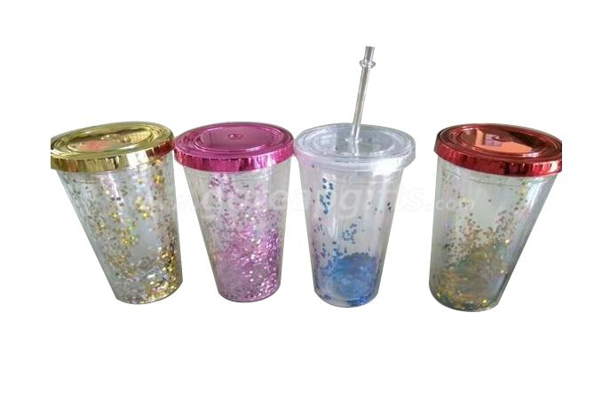 Customized 450ml double wall plastic starbucks gold glitter insulated tumbler with straw Wholesale