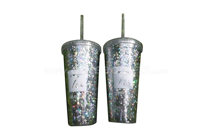 16OZ straw reusable plastic glitter tumbler for cold drink with AS straw