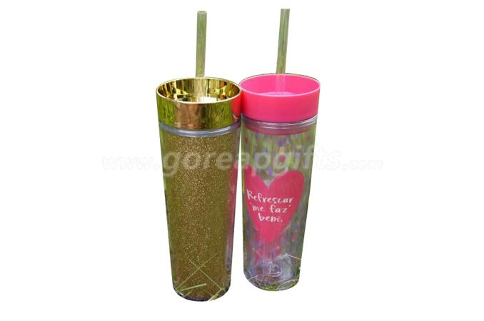 New style promotional 350ml  glitter insert double wall plastic water bottle  with straws