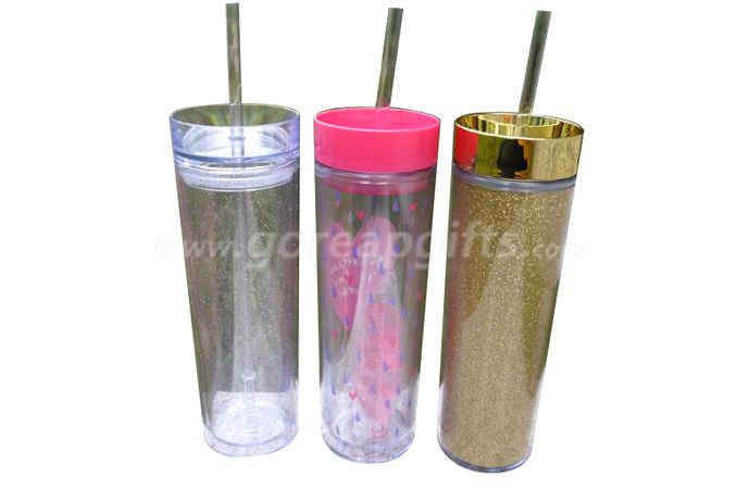 New style promotional 350ml  glitter insert double wall plastic water bottle  with straw