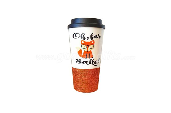 Wholesale Personalized Plastic 16oz double wall glitter  Tumbler with lid