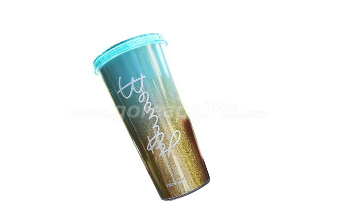 New style attractive promotional 24oz glitter insert double wall plastic tumbler with straw