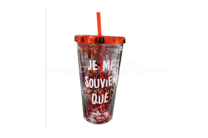 Manufacturer 16OZ straw reusable plastic glitter tumbler for cold drink