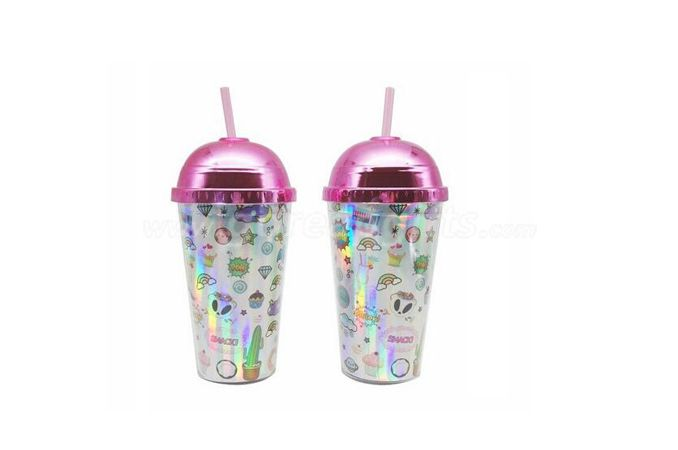 16OZ straw reusable plastic glitter tumbler for cold drink with plated lid