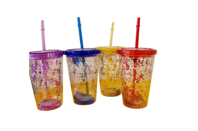 Wholesale Personalized Plastic 16oz 22oz Glitter Tumbler With Straw And Cover