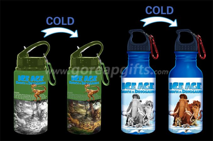ICE AGE  Creative Cold color changing aluminum water bottle with kepchain