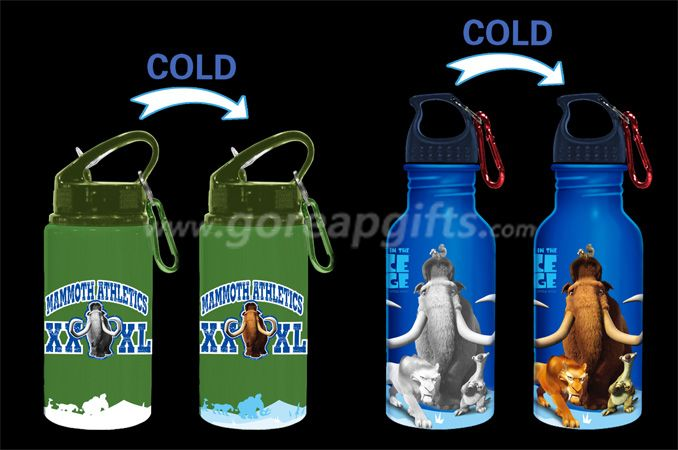 Ice Age Promotional gifts color changing sports aluminum water bottle
