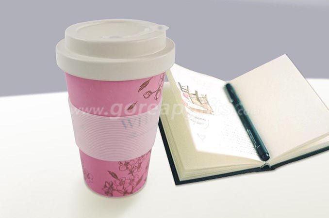Eco-friendly Travelling Cup Bamboo Fiber Mug with Silicone Lid and Sleeve