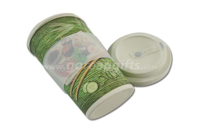 100% NATURAL ECO FRIENDLY BAMBOO FIBER TRAVEL COFFEE MUGS WITH LID AND SLEEVE