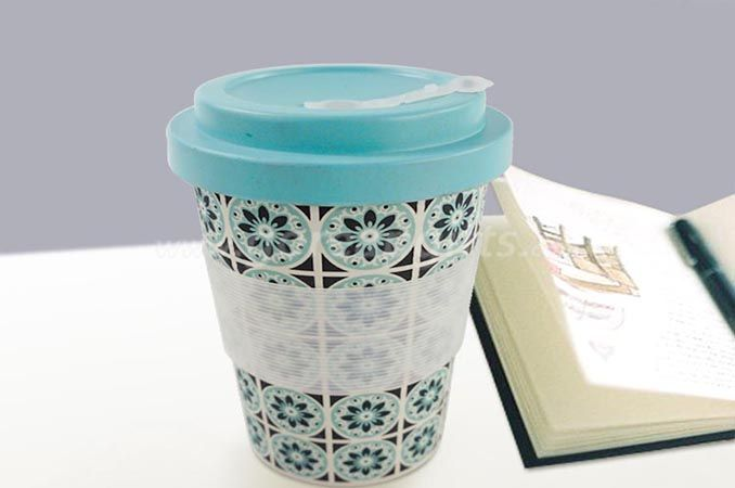ECO-FRIENDLY TRAVELLING CUP BAMBOO FIBER MUG WITH SILICONE LID AND SLEEVES