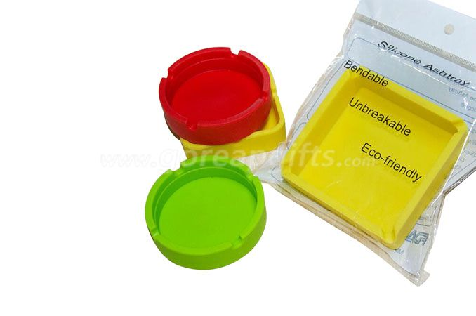 Colorfull Eco-friendly Heat Resistant Round/square Silicone Ashtray