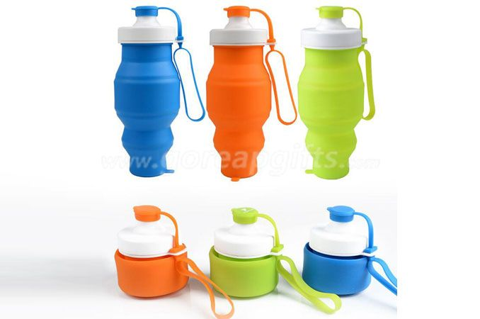 Medical Grade Silicone Leak Proof Foldable Sports silicone Collapsible Water Bottle 500ml
