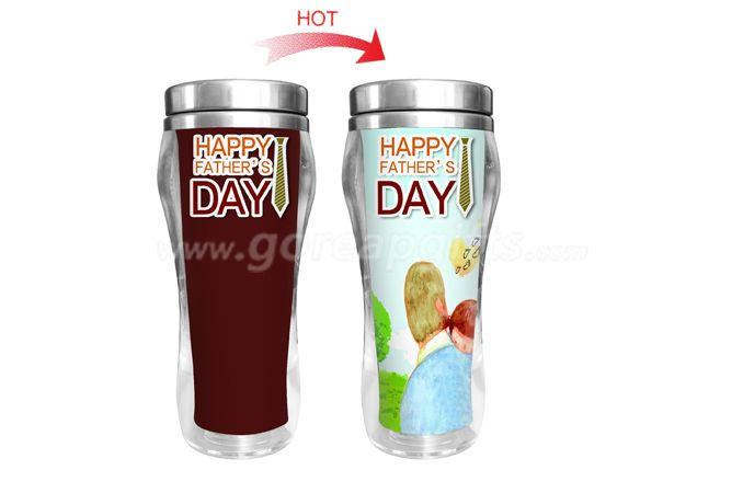Father's Day Gift ! 450ml Creative tempreture heat color changing stainless steel double wall mug