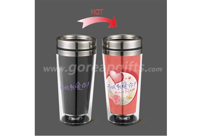 Mother's Day gifts 450ml double wall heat color changing stainless steel water bottle