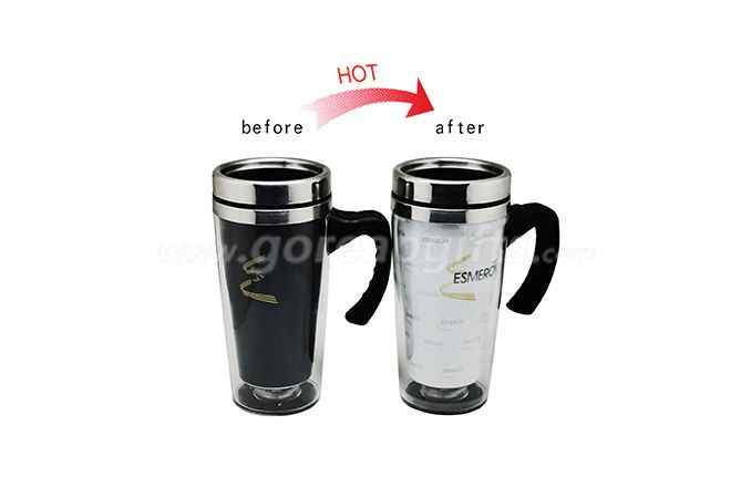 Manufacturer double wall heat sensitive color changing stainless steel mug