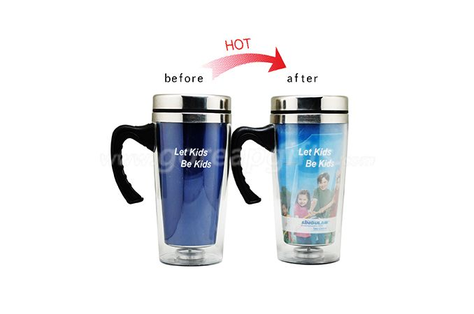 Advertising auto cup color changing travel mug stainless steel  for wholesale
